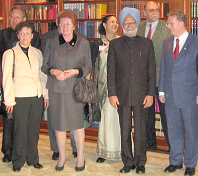 Peter Rühe (back left) after the meeting with Indian prime minister, Dr. Manmohan Singh